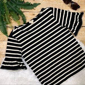J. Crew • Ruffle Sleeve Black & White Striped Top